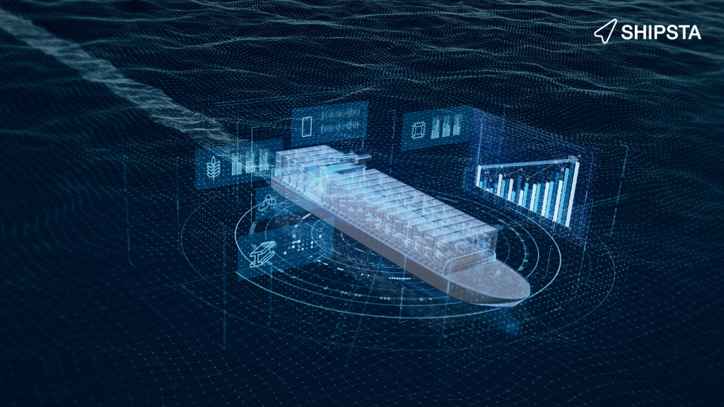 A shipping containers sailing and projecting digital graphs