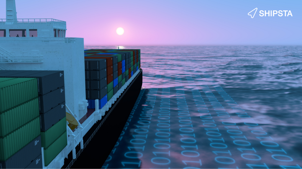 Shipping containing sailing on a sea of computer code