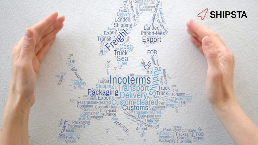 Two hands gathering up words related to freight procurement, such as 'freight', 'export' and 'packaging'.